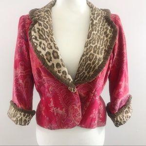 3 Sisters Red Velvet & Leopard Print Jacket